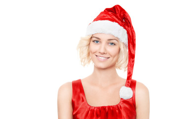 Beautiful yound blond woman with santa hat