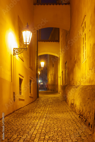 Fotobehang Praag Night street in Mala Strana, Prague, Czech Republic