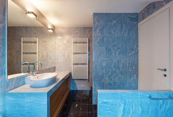 Interior, blue bathroom