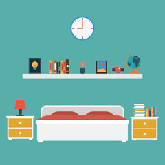Vector of Bedroom flat design