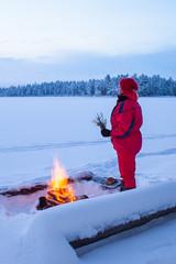 Warming at the campfire