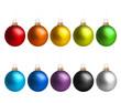 canvas print picture - Weihnachtskugeln in Regenbogenfarben
