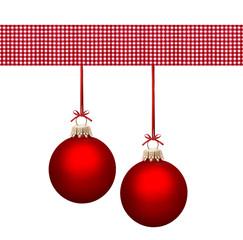 Rote Weihnachtskugeln mit Karostoff