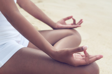 Close up Woman Doing Yoga Pose