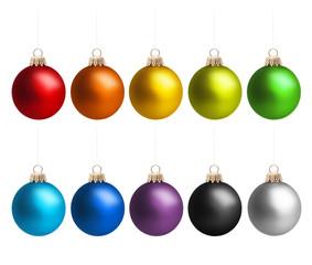 Weihnachtskugeln in Regenbogenfarben