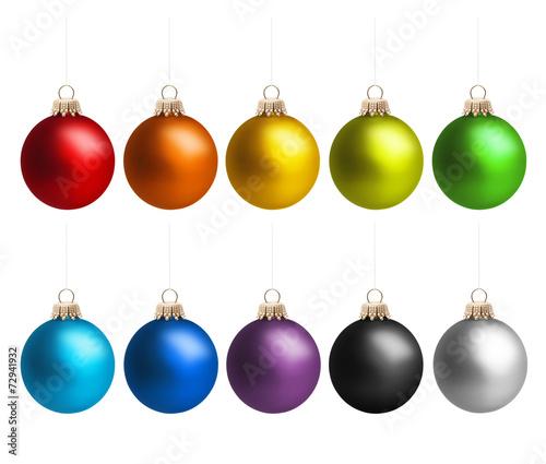 canvas print picture Weihnachtskugeln in Regenbogenfarben