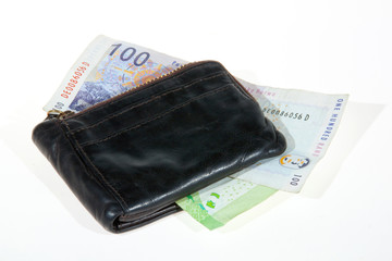 South African Bank Notes Enclosed by Leather Wallet
