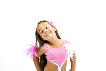 Beautiful girl smiling and posing with dance costumes