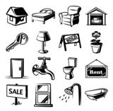 Real estate vector black icons set