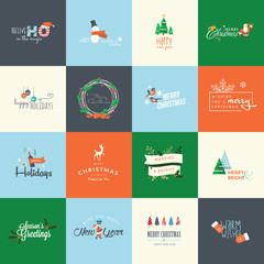 Set of Christmas and New Year flat design elements