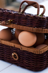 Egg in rustic basket