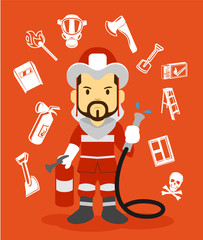 Firefighter flat illustration. Icon set