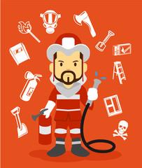 Firefighter flat illustration. Icon set