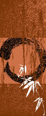 Zen circle and bamboo vintage poster background