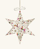 Fototapety Vintage Christmas star bauble greeting card