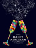 Fototapety New year 2015 color glass greeting card