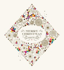 Vintage Christmas diamond greeting card