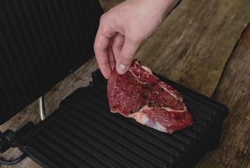 Man with steak