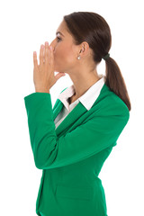 Isolated businesswoman in green blazer send message or calling u