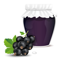 Blackcurrant jam in a jar and fresh blackcurrant