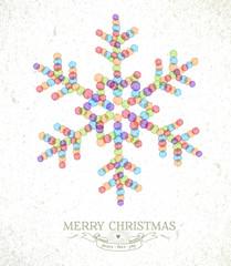 Merry Christmas watercolor snowflake illustration