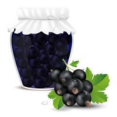 Blackcurrant compote in a jar and fresh blackcurrant