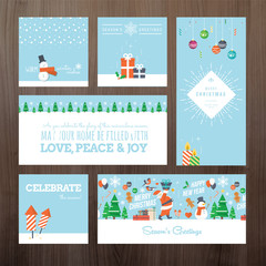 Flat design Christmas and New Year greeting card concept