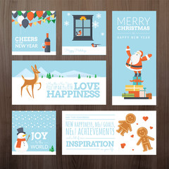 Flat design Christmas and New Year greeting cards and banners