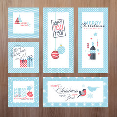 Set of modern Christmas and New Year greeting cards