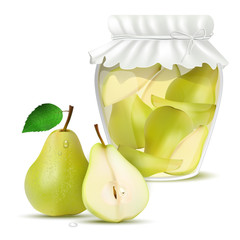 Pear compote in a jar and fresh pears