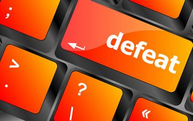 defeat button on white computer keyboard keys