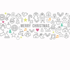 Merry Christmas pattern outline icons set card background