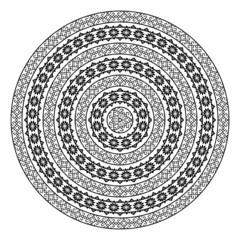 Monochromatic ethnic round border pattern texture