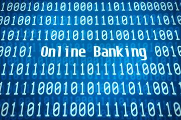 Binärcode mit dem Wort Online Banking