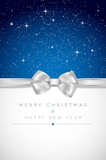 Christmas card with silver bow and shiny stars - 72943738