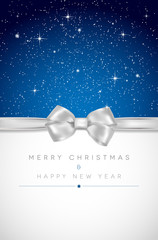 Christmas card with silver bow and shiny stars