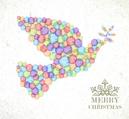 Merry Christmas watercolor spot  peace dove