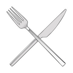 Crossed Fork and Knife isolated on a white background.