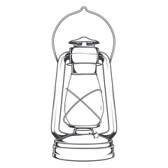 Antique Old Kerosene Lamp isolated on a white background.