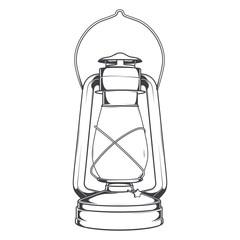 Antique Old Kerosene Lamp isolated on a white background.
