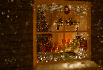 Christmas Window Holiday Home Lights, Room Decorated Xmas Tree