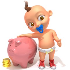 Baby Jake with piggy bank and coins