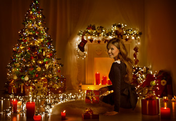 Christmas Woman Open Present Gift Box In Xmas Room, Holiday Tree
