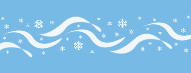blue and white wave and snowflake cover illustration
