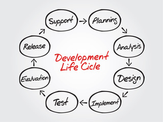Circular vector flow chart of life cycle development process