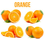 Fototapety set of four compositions from oranges isolated