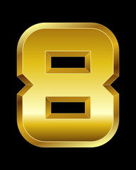 rectangular beveled golden font, number 8
