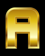 rectangular beveled golden font, letter A