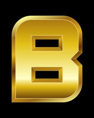 rectangular beveled golden font, letter B