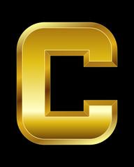 rectangular beveled golden font, letter C